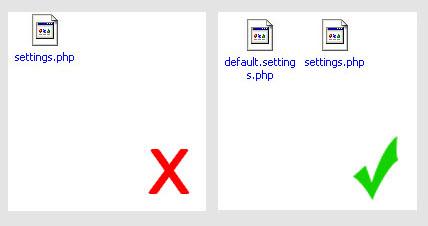 Не удаляйте default.settings.php!