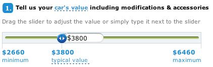 Слайдер позволяет пользователю точно подобрать стоимость своего автомобиля