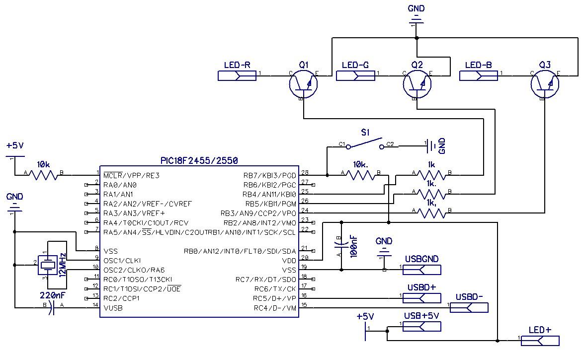 На схеме не отображены только мощные резисторы к катодам светодиода.
