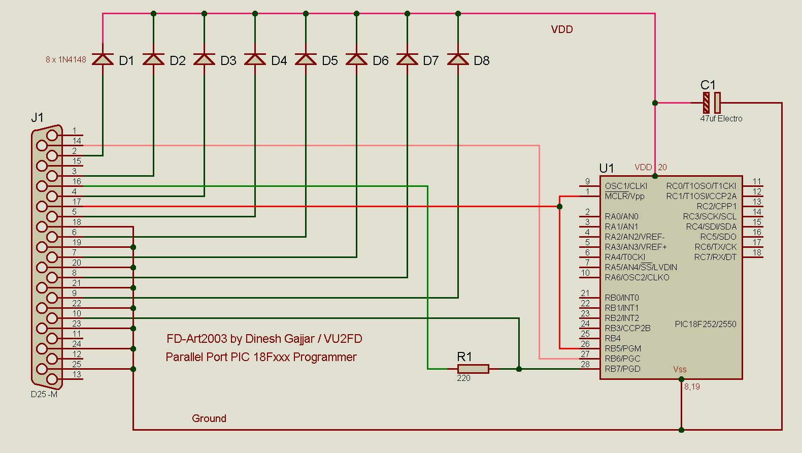 Схема универсального программатора (работает как JDM).  LPT разъем, 8 диодов, конденсатор и резистор.