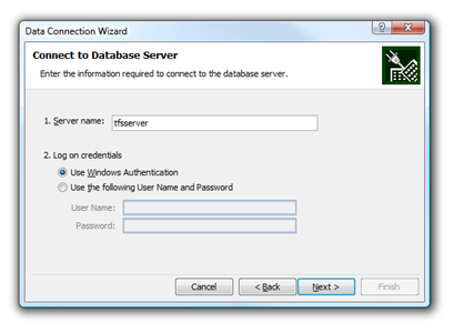 Dialog for entering OLAP server address in Excel