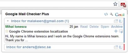 Предпросмотр письма в всплывающем окне Google Mail Checker Plus