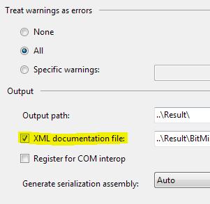Enable Xml comments