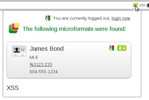 Атака на расширение Microformats extension