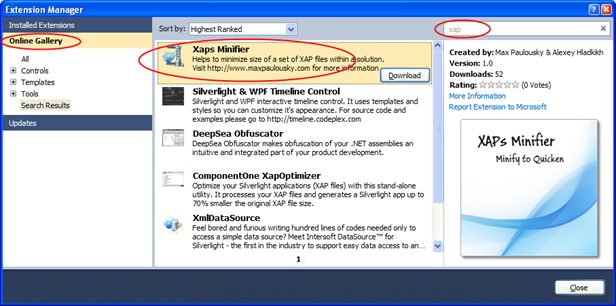 Установка дополнения через Visual Studio Extension Manager