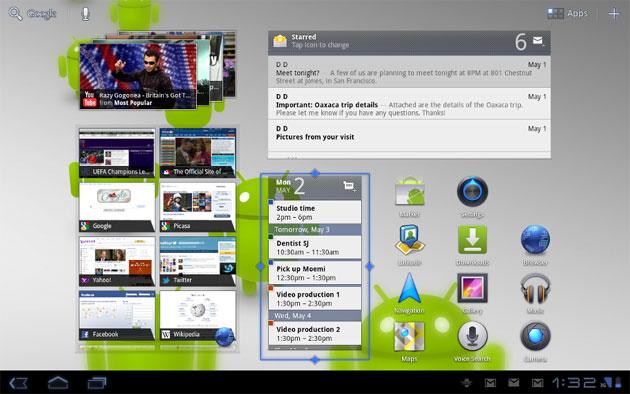 Интерфейс операционной системы Google Android 3.1.  10–11 мая, Сан-Франциско, Калифорния, США) несколько анонсов...