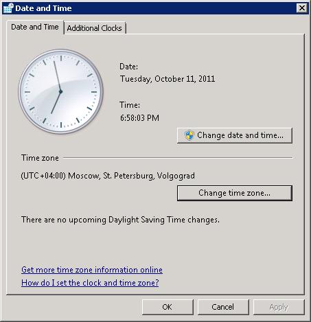 Настройка часовых поясов в Win2008-R2