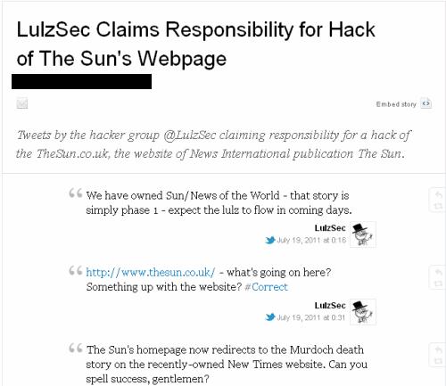 LulzSec взломали сервера издания The Sun