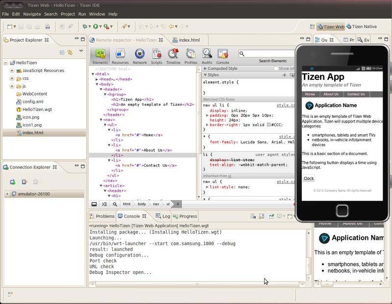 Показан процесс отладки Tizen-приложения