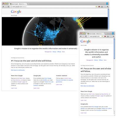Адаптивный дизайн на странице о Google