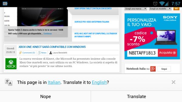 Chrome 28 Beta for Android ����� �� ���������� Google Translate