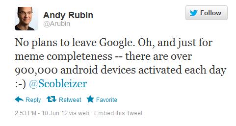 Энди Рубин: Android активируют 900 000 раз в сутки