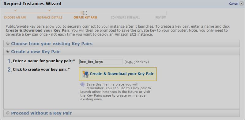 Вводим имя пары ключей и жмем Create & Download your Key Pair. После