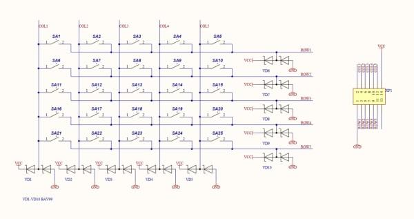 Схема клавиатуры приведена на