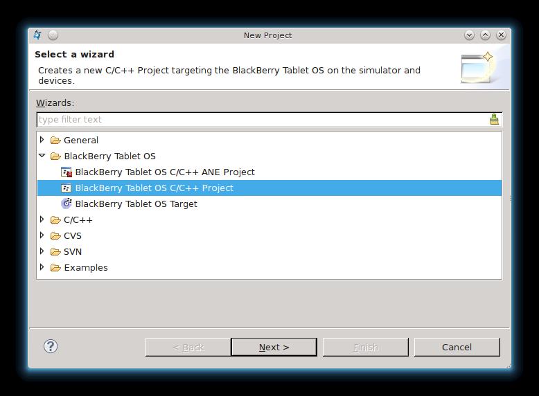 Создание проекта BlackBerry Tablet OS C/C++ в Native SDK