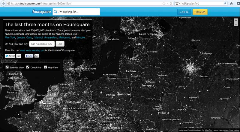 Чекины на карте Foursquare