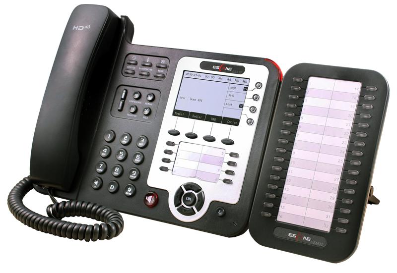 Корпоративный IP-телефон Escene ES410 с дополнительной панелью расширения на 32 кнопки