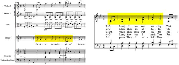 общие музыкальные фразы в Орфее и Эвридике Глюка и мотиве гимна Non Dignus