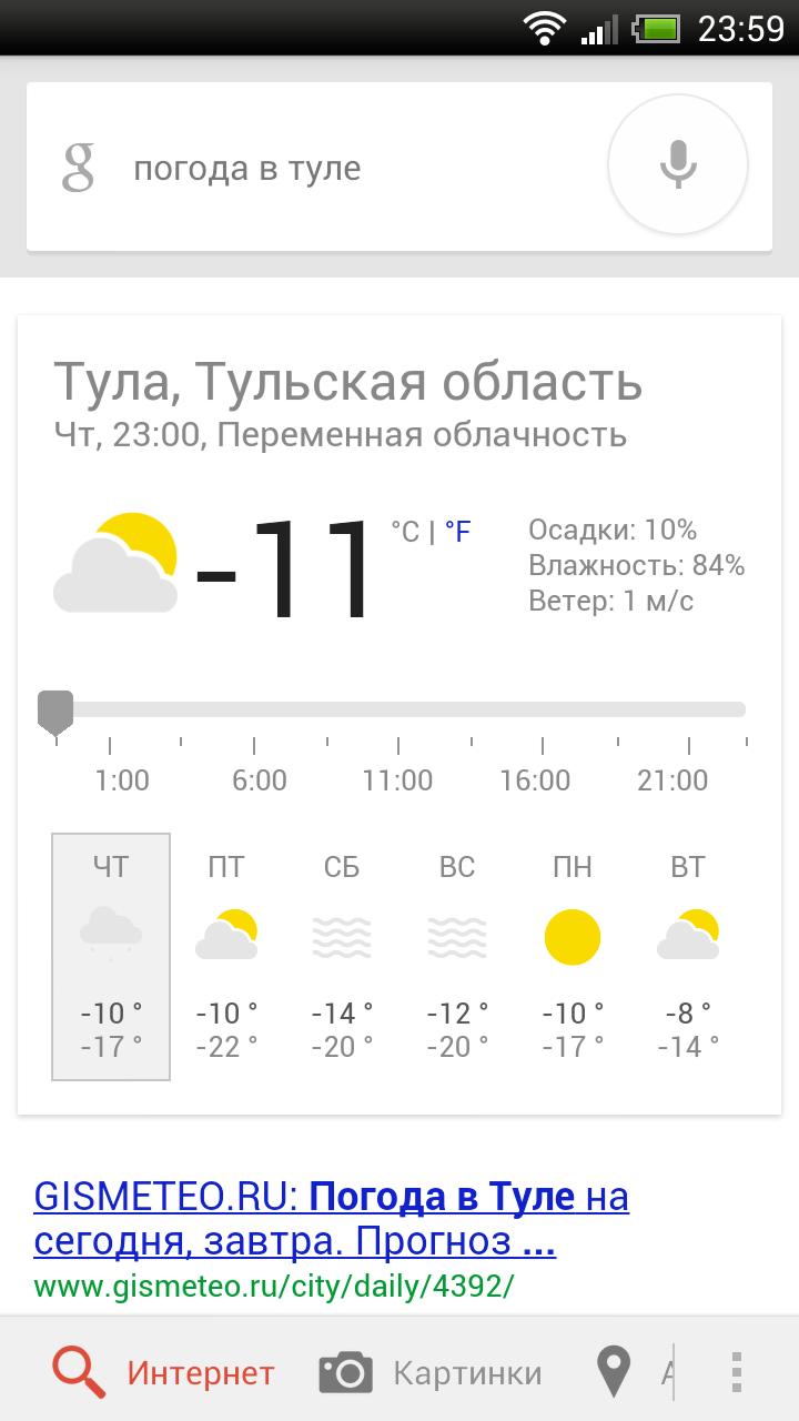 Прогноз погоды в Туле на 1 дней — Яндекс Погода