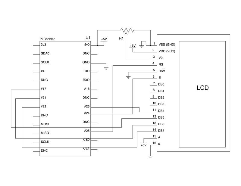 Схема подключения LCD 16=2 индикатора к Raspberry Pi. источник.