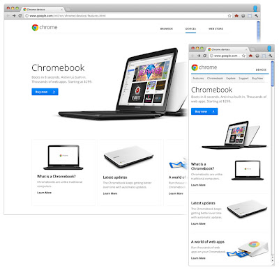 Адаптивный дизайн на странице Chromebooks