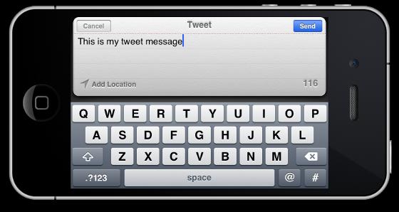Окно приложения на iPhone