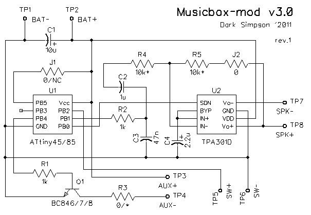 Начнем со схемы, она очень простая. ее - микроконтроллер ATtiny45/85.  Он занимается, собственно, синтезом музыки...