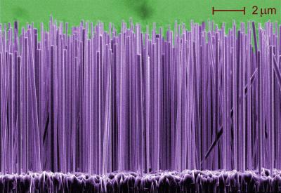 Для получения сверхъярких лазеров ученые научились выращивать крохотные нанопровода диаметром 140 нм...