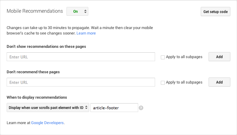 How to enable and configure a tool for recommending content
