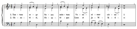 первые 8 тактов из Tantum Ergo, Bottazzo