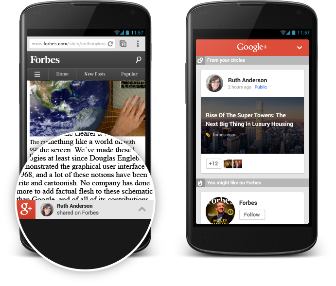 Users recommend content on Google Plus