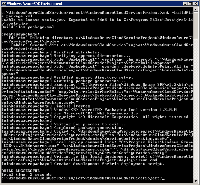 example of a successful build of a Windows Azure project for ant