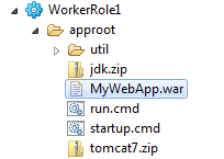 MyWebApp.war in the project structure