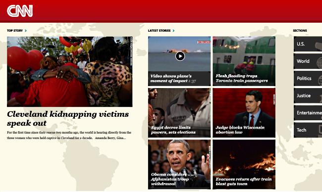 Главный экран приложения CNN для Windows 8