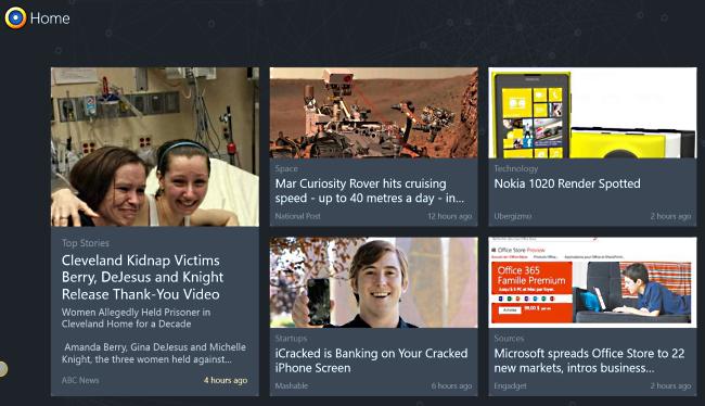 Главный экран приложения News360 для Windows 8