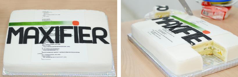 Наш праздничный торт. А на нем - первый код, написанный в Maxifier