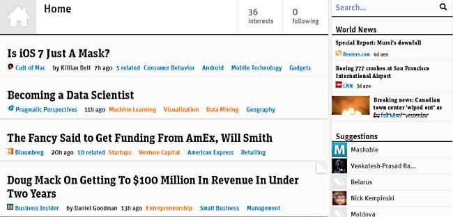 Главный экран getprismatic.com (сжатый до заголовков статей)