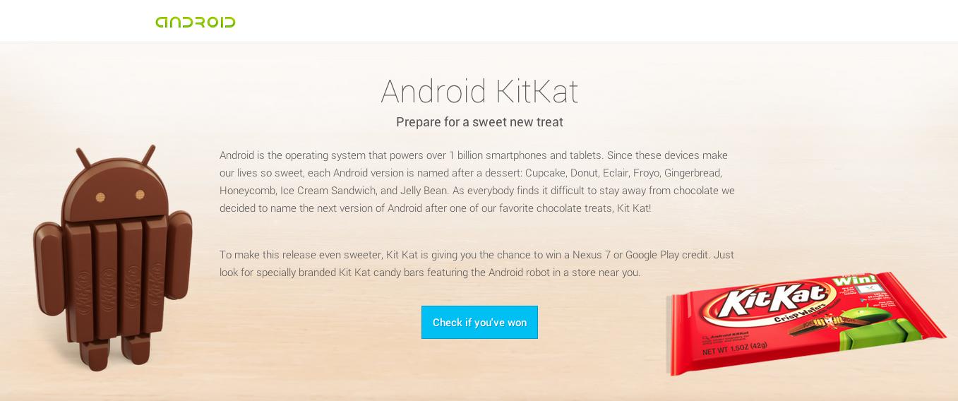 Android 4.4 получил имя Kit Kat (+1 миллиард активированных устройств)