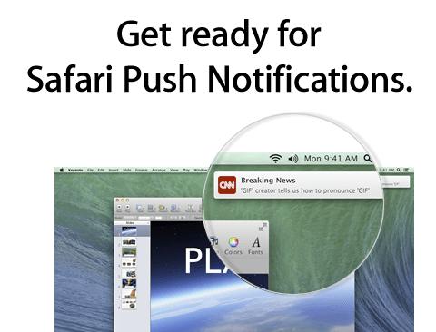 Теперь Push сообщения и в Safari