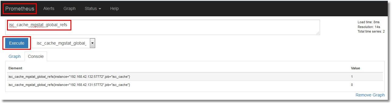 Show metrics from Prometheus interface