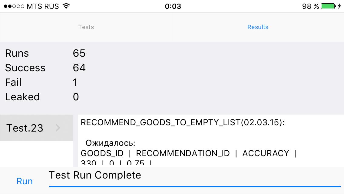 Результаты запуска тестов (iOS)