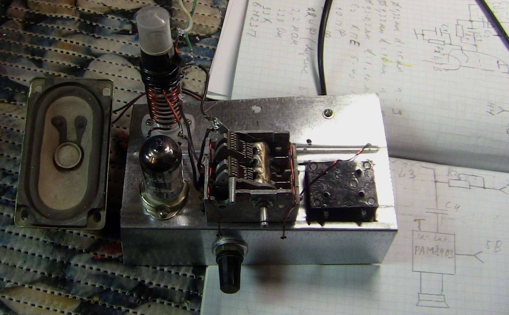 [Из песочницы] Низковольтный ламповый сверхрегенеративный FM-приемник без выходного трансформатора