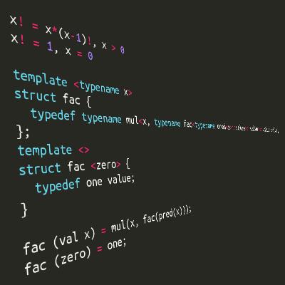 Эзотерический язык, транслирующийся в шаблоны C++