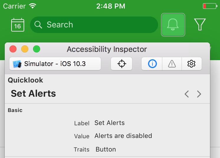 Инспектирование accessibility свойств кнопки уведомления через Acessibility Inspector