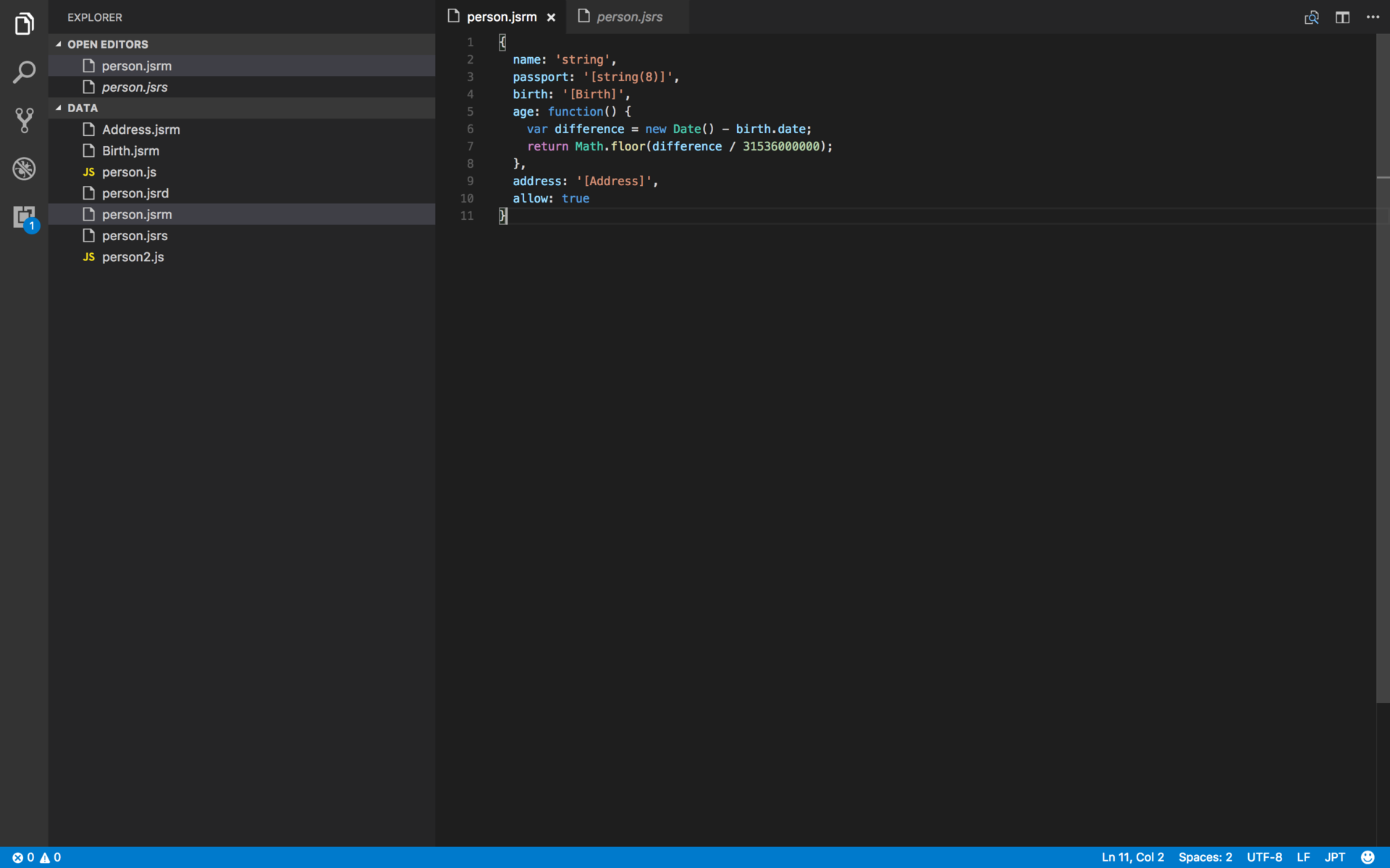 JSTP syntax in VS Code