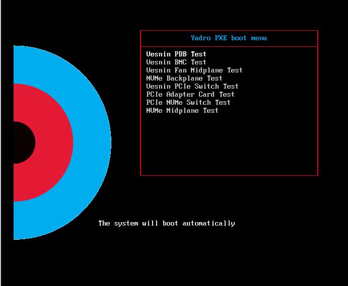 YADRO Blackbox PXE boot menu