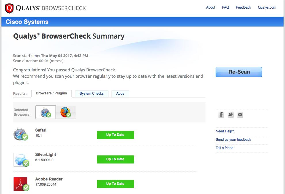 Результат работы Qualys Browser Check на моем компьютере