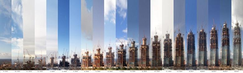 Рост небоскреба Лахта Центр по месяцам