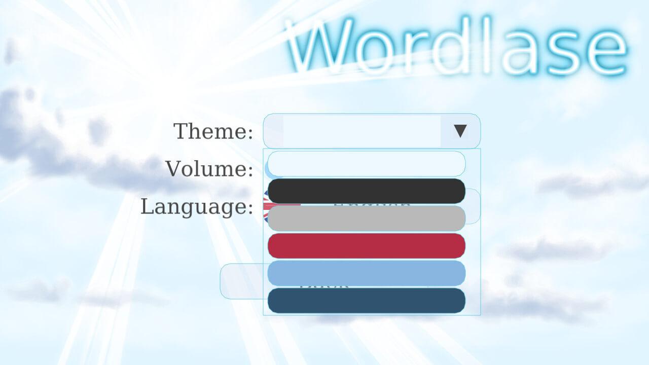 Wordlase, выбор темы оформления