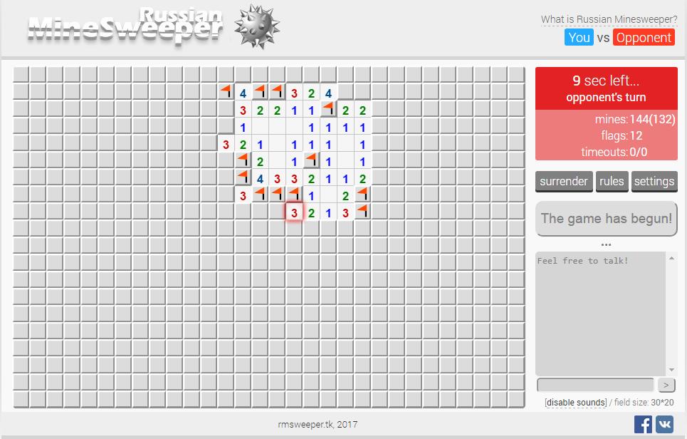 Russian Minesweeper — мультиплеерная версия игры «Сапёр»